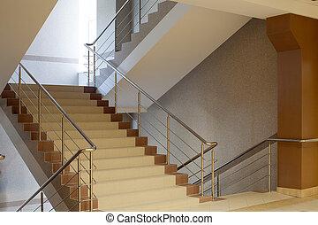 brun, escalier, gris, mur, balustrade métal