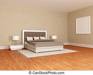 brun, essentiel, chambre à coucher