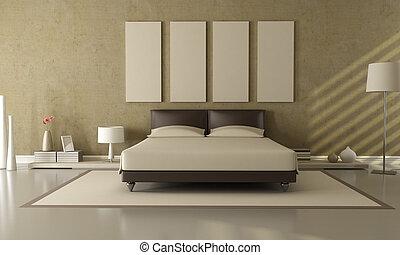 brun, et, beige, chambre à coucher