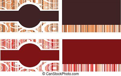 brun, et, rouges, cartes affaires