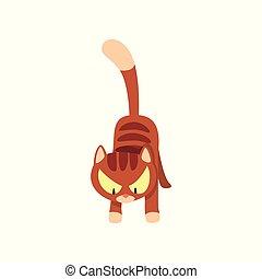 brun, fâché, caractère, illustration, chat, vecteur, fond, blanc, rayé, dessin animé