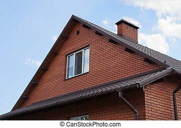 brun, fönster, tegelsten, loft, hus