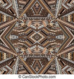 brun, fait, tissu, patchwork, tonalités, ethnique, kaléidoscope