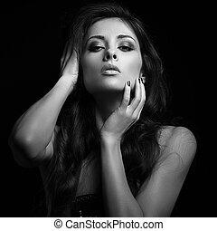 brun, femme, érotique, long, regarder, chaud, noir, hair., ...