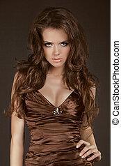 brun, femme, beauté, long, élégant, poser, cheveux, modèle, ...