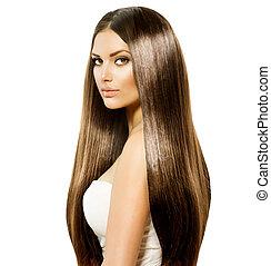brun, femme, beauté, sain, lisser,  long, cheveux, brillant