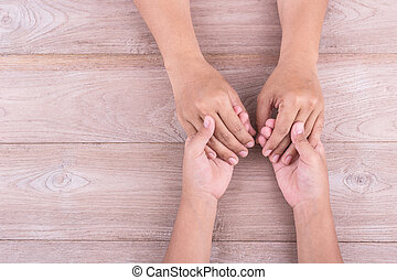 brun, femme, concept, aide, elle, espace, bois, texte, soutien, tient, jeune, gratuite, gosses, conception, mains, :, table., ou