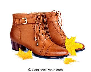 brun, femme, doré, bottes, automne, leav, fond, paire