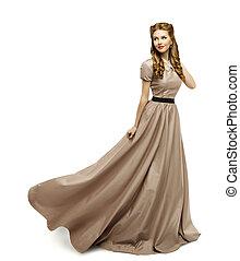 brun, femme, robe, robe, long, mode, tourner, modèle, blanc