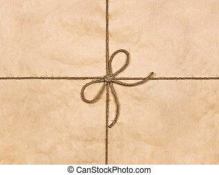 brun, ficelle, attaché, arc, recyclé, papier