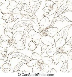 brun, fleur, hiver, rose, ellébore, schéma feuillage