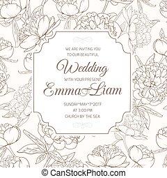 brun, fleur, pivoine, mariage, paeonia, invitation, carte