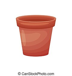 brun, fleurir pot, illustration, arrière-plan., clay., vecteur, blanc, fait