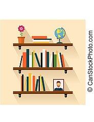 brun, flower., étagères, livres, globe, image, étagère, lecture
