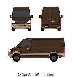 brun, fourgon, trois, illustration, livraison, vecteur, côtés