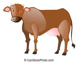 brun, fourrure, vache