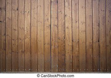 brun, gateway., grand, deux, ferme, monumental, porte, fermé, feuille, bois, grange, gate., bois construction