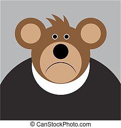 brun, grand, -, ours, triste, dessin animé, oreilles