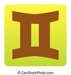 brun, green-yellow, fyrkant, rundat, bakgrund., isolated., hörnen, skylt., lutning, tvillingarna, vector., vit, ikon