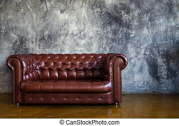 brun, grenier, urbain, sofa cuir, intérieur