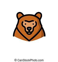 brun, grisonnant, vecteur, ours, illustration