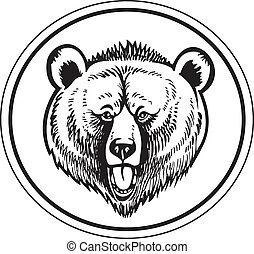 brun, grisonnant, vecteur, ours