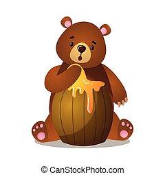 brun, grizzly, miel, baril, dessin animé, surpris