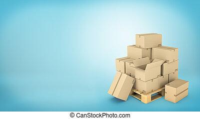 brun, ground., bois, beaucoup, quelques-uns, palette, placé, boîtes, non plus, carton, ouvert, ou