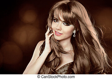 brun, hairstyle., lockig, länge, flicka, attraktiv, hair., woman., leende glada