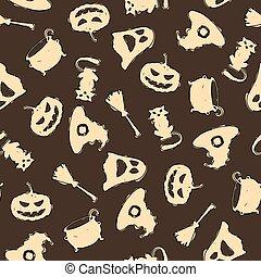 brun, halloween, seamless, modèle fond