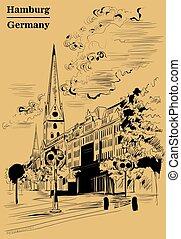 brun, hambourg, petri, église, sankt, hauptkirche, vue