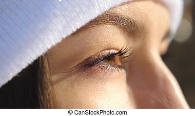 brun, haut, fille femme, figure, forêt, eyes., séduisant, ...