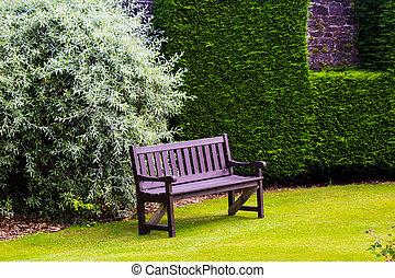 brun, herbe, vert, banc jardin