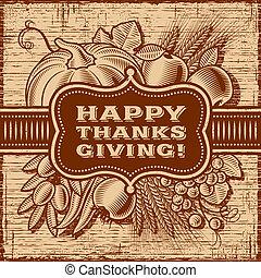 brun, heureux, retro, carte, thanksgiving