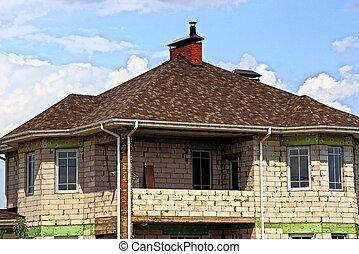 brun, hus, sky, privat, mot, del, tak, vita tegelsten, tegeltäckt