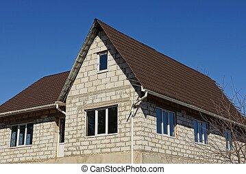 brun, hus, sky, tak, bakgrund, vita tegelsten