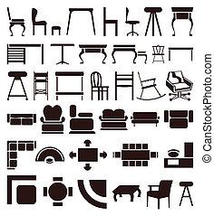 brun, icônes, colour., illustration, vecteur, meubles