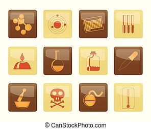brun, icônes, industrie, fond, chimie, sur