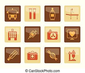 brun, icônes, sur, fond, healthcare, médecine