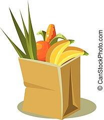 brun, illustration, nourriture., sac papier, vecteur