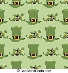 brun, illustration., or, cuir, modèle, boucle, matériel, seamless, trèfle, bande, vecteur, arrière-plan vert, chapeau lutin