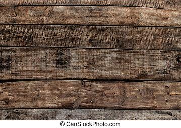 brun, industriel, mur, bois, fond, texture, planche, bois ...