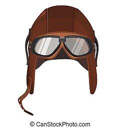 brun, isolé, lunettes protectrices, chapeau blanc, aviateur