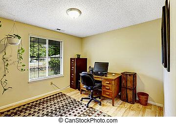 brun, ivoire, ensemble, salle, meubles bureau