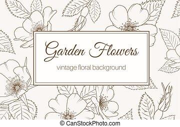 brun, jardin, vendange, fond, rose, fleurs sauvages