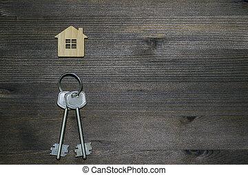 brun, keychain, bilda, stämm, hus, symbol, metall, space., bakgrund., årgång, trä, avskrift
