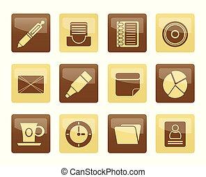brun, kontor, affär, &, över, ikonen, bakgrund