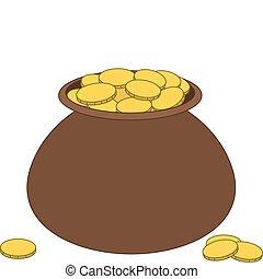 brun, kruka, guld, lera