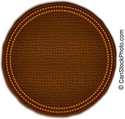 brun, läder, etikett