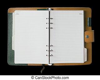 brun, läder, täcka, bindemedel, anteckningsbok